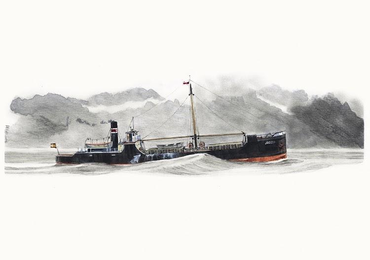 El vapor costero JOSEFA, antes petrolero VALERIA, navegando en el Cantabrico con un ligero maretón. Acuarela de Roberto Hernandez. El Ilustrador de Barcos. Nuestro agradecimiento.jpg