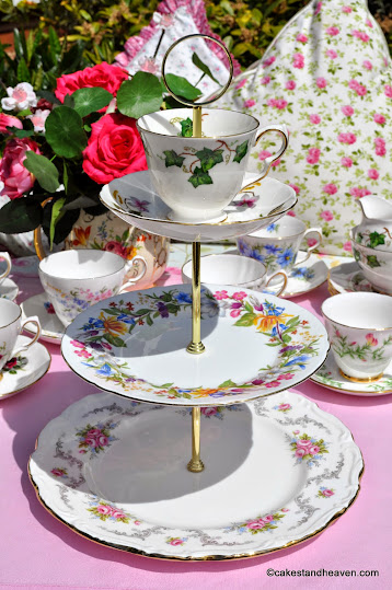 Mismatched vintage teacup top 3 tier cake stand