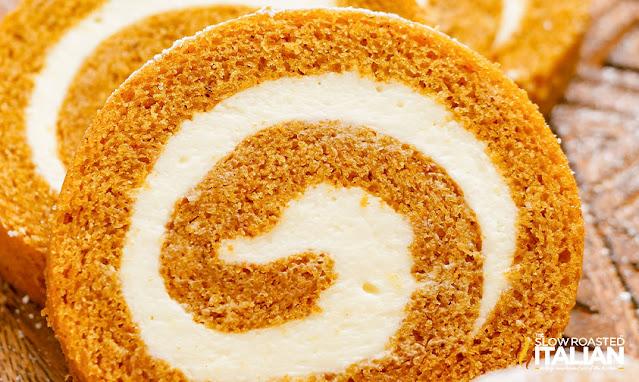 pumpkin roll cake close up on a board
