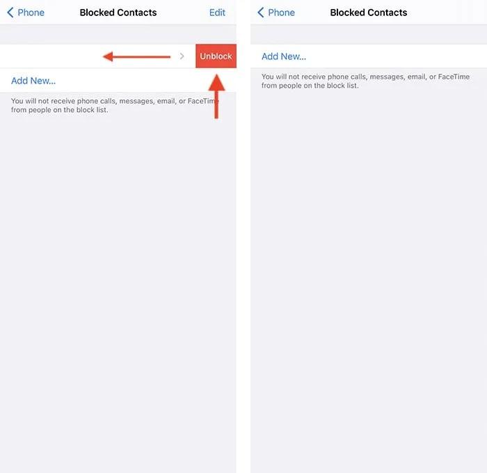 قم بإلغاء حظر رقم هاتف Iphone Settings App Swiping Gesture