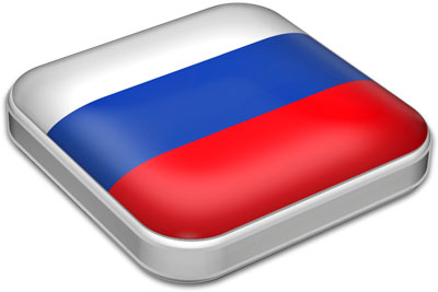 Flag of Russia with metallic square frame
