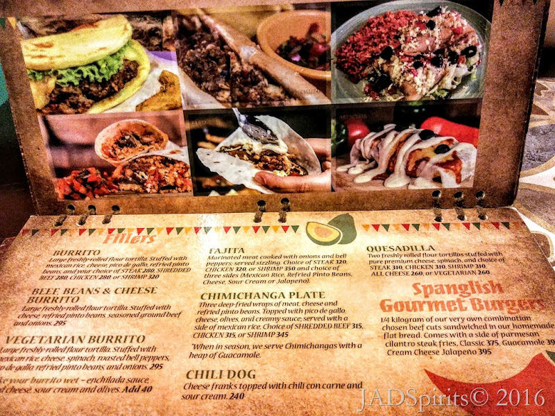 The Spanglish Menu Flllers or Main Course such as Burrito, Fajita, Chimichanga, etc.