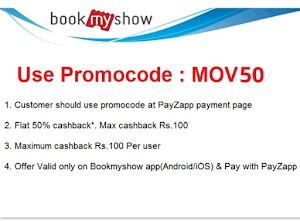 Bookmyshow 100 Rs cashback on booking tickets by payZapp