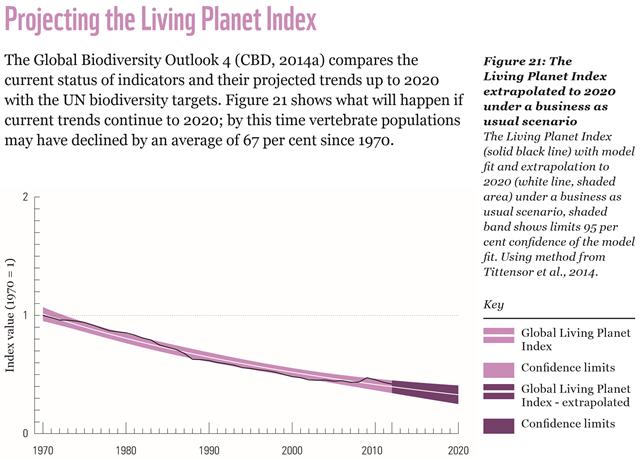 The Living Planet Index 2016 extrapolated to 2020 under a business as usual scenario The Living Planet Index (solid black line) with model fit and extrapolation to 2020 (white line, shaded area) under a business as usual scenario, shaded band shows limits 95 per cent confidence of the model fit. Using method from Tittensor et al., 2014. Graphic: WWF International