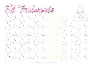 Dibujo para delinear y trazar la figura geométrica el triángulo en colores