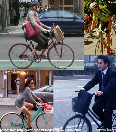 Four people on bicycles. Three are wearing every day clothes