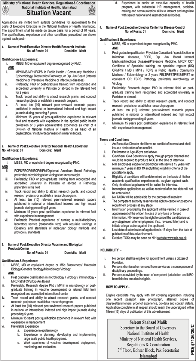 Ministry of National Health Services Jobs 2021 Latest