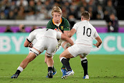 Pieter-Steph du Toit, in action here against England  during the Rugby World Cup 2019 final in  Yokohama, Japan,  on November 2, was named Players' Player of the Year in rugby awards in Johannesburg  this week. / Craig Mercer/ MB Media/ Getty Images