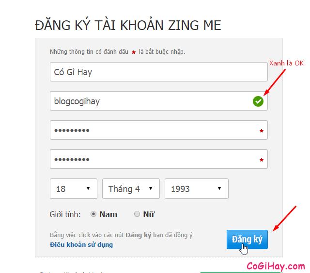 Nhập thông tin đăng ký zing me