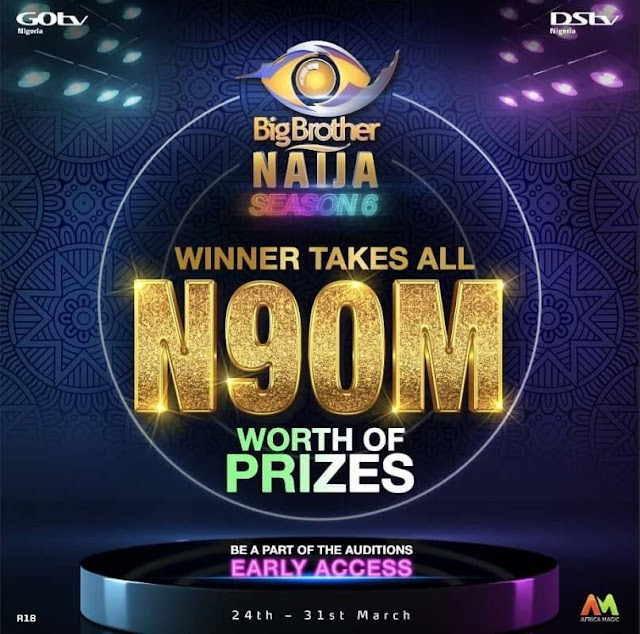 #BBNAIJA SEASON 6: MULTICHOICE ANNOUNCES GRAND PRIZE OF N90M FOR WINNER