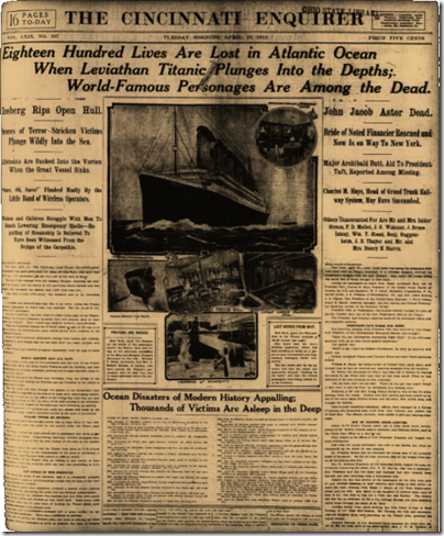 Sample cover from the Cincinnati Enquirer - Sinking of the Titanic