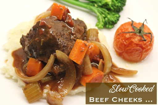 Slow-cooked beef cheeks with braised vegetables