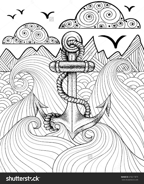 Vector Zentangle Print For Adult Coloring Page Hand Drawn Artistically  Ethnic Ornamental Patterned Sea Anchor