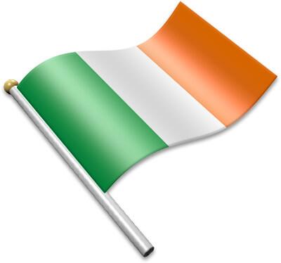 The Irish flag on a flagpole clipart image