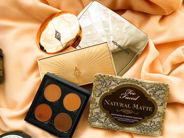 luxury makeup palettes hourglass ambient lighting edit, anastasia beverly hills quad, charlotte tilbury filmstar bronze and glow, too faced natural matte palette