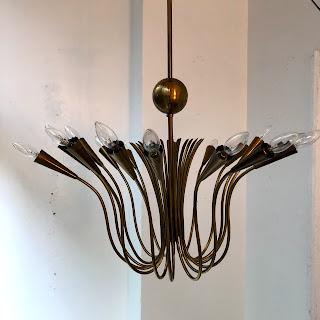 Brass Mid-Century Chandelier