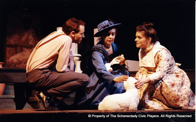 Kevin Miller, Carol Jones and Laura LaTorre in LOOK HOMEWARD, ANGEL (R) - March 1994.  Property of The Schenectady Civic Players Theater Archive.