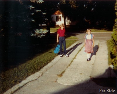 Trica and jen off to school 1983