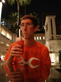 Having a Singapore Sling at the Raffles Hotel