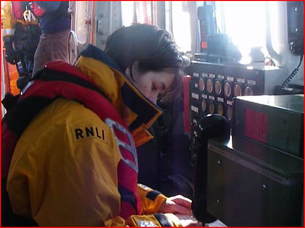 New trainee Suzie Jupp checking the lifeboat layout on a training exercise Photo (from video): RNLI/Anne Millman