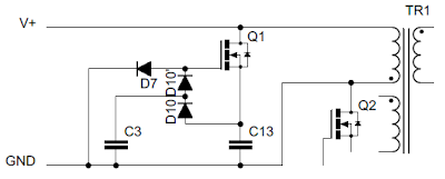 Quasi-resonant tank circuit used to clamp transformer voltage spikes in iPhone power adaptor