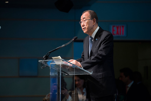 Secretary-General Ban Ki-moon addresses a conference on 'Forced Displacement: A Global Challenge', at the World Bank in Washington DC, on 15 April 2016. Photo: Grant Ellis / World Bank