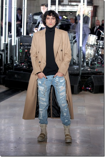 NEW YORK, NY - FEBRUARY 13:  Photographer Sebastian Faena walks the runway wearing look #37 for the Philipp Plein Fall/Winter 2017/2018 Women's And Men's Fashion Show at The New York Public Library on February 13, 2017 in New York City.  (Photo by Thomas Concordia/Getty Images for Philipp Plein)
