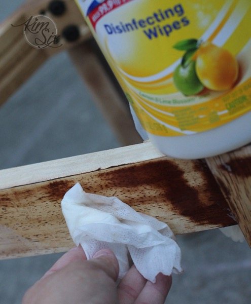 Degreasing sanded desk chair