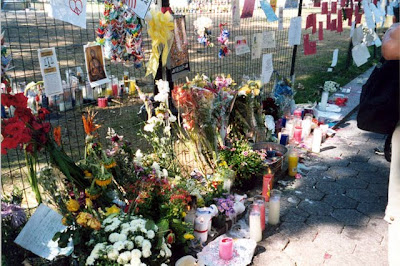 Flowers in Union Square after the September 11 2001 terrorist attacks in New York City