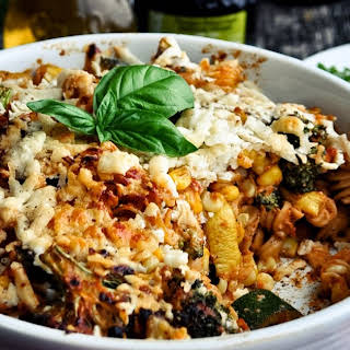 Cheesy Baked Pasta Casserole with Grilled Vegetables.