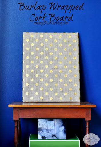 burlap wrapped cork board