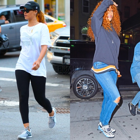 Rihanna in PUMA's No.1 Logo, Pulse XT Sneakers and Dior Fusion Trainers