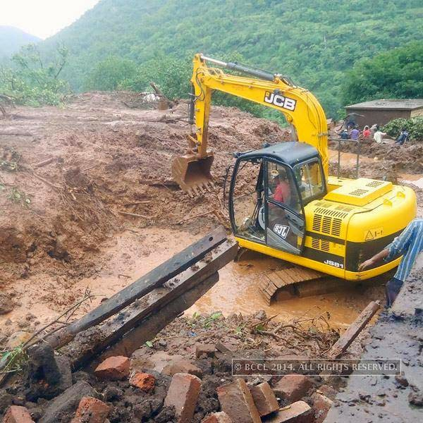 Intermittent rains and slushy terrain were affecting the rescue work, district officials said.