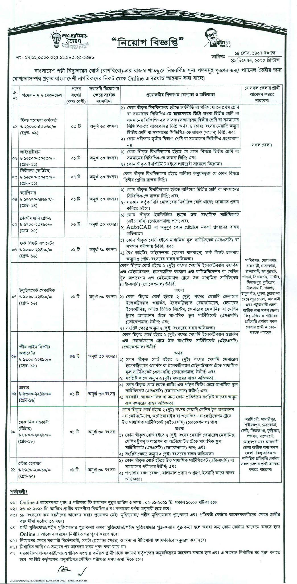 পল্লী বিদ্যুৎ নিয়োগ বিজ্ঞপ্তি ২০২১ - পল্লী বিদ্যুৎ চাকরির খবর ২০২১ - Bangladesh Rural Electrification Board Job Circular 2021