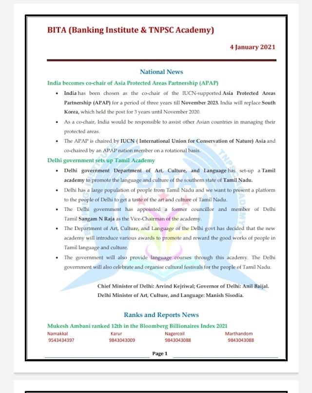 Banking Exam - Today Current Affairs  BITA Academy  ( 04 -  January  2021 )