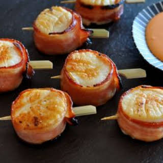 Bacon Wrapped Scallops with Chili Sauce.