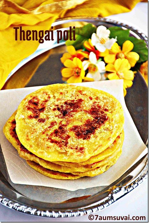 Thengai poli / Coconut puran poli