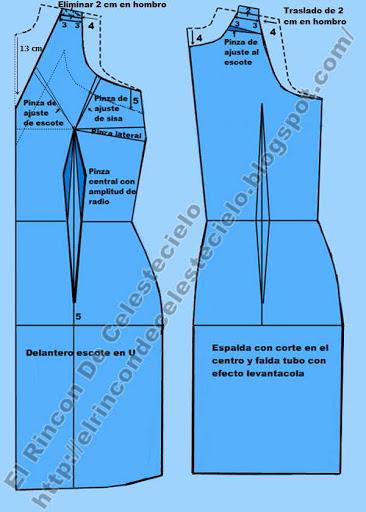 Patrones de vestido falda recta con escote en v en el delantero, manga revocada