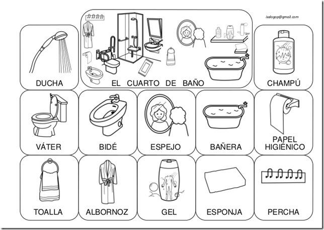 Fichas para colorear cosas de la casa for Lista utensilios para bano