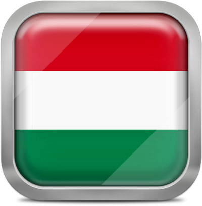 Hungary square flag with metallic frame