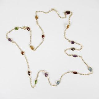 14K Gold & Multi Colored Stone Necklace
