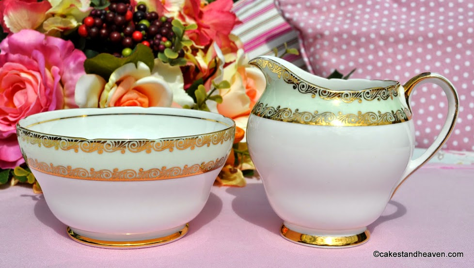 Stanley pale green and gold vintage cream jug and sugar bowl
