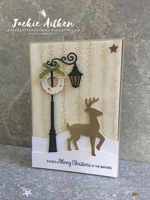 stampin up christmas card, brightly lit bundle, santas sleigh bundle, christmas card, gold and vanilla