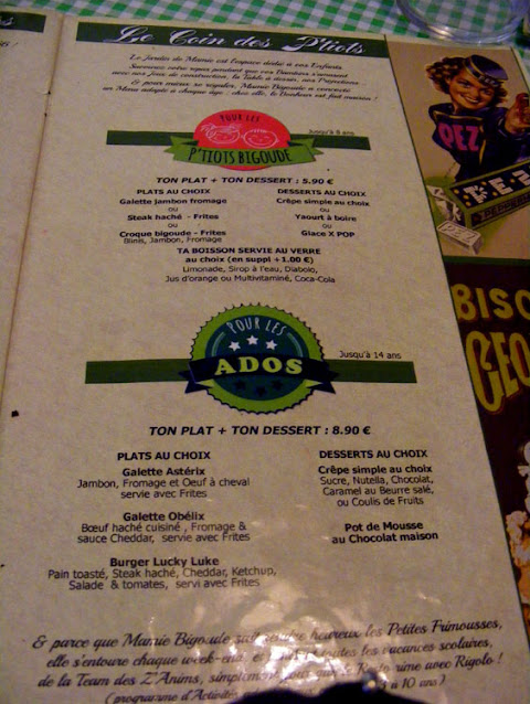 Kids menu, Mamie Bigoude, Chambray les Tours, Indre et Loire, France. Photo by Loire Valley Time Travel.