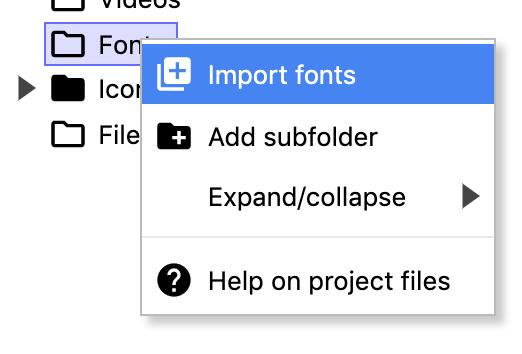 Screenshot of Importing fonts.