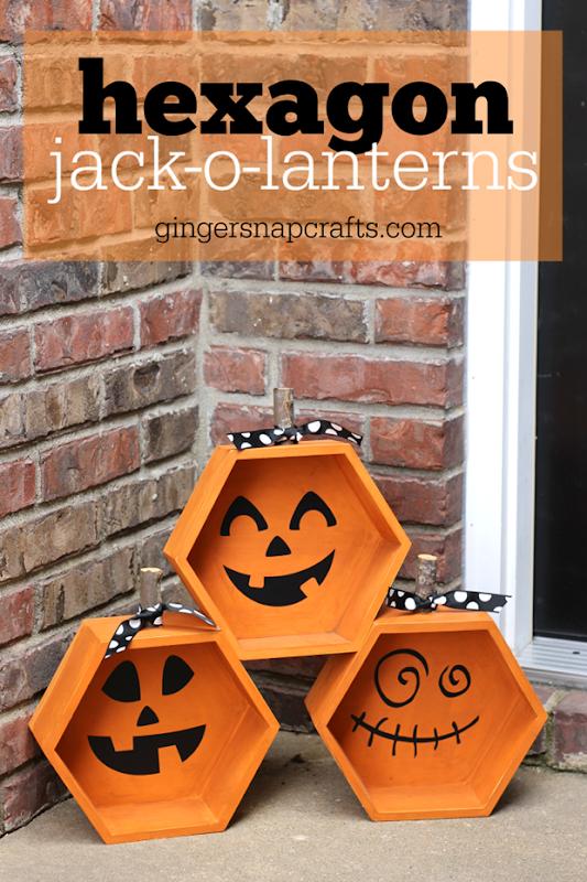 Hexagon Jack-o-lanterns at GingerSnapCrafts.com