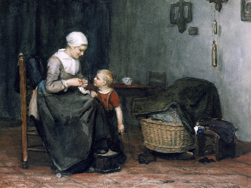 Albert Neuhuys - Knitting next to the cradle