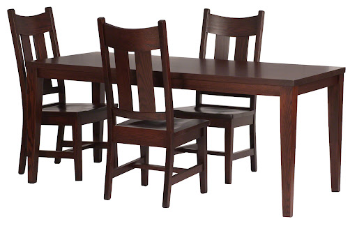 "70"" x 32"" Ashton Table with Custom Tapered Legs and Montrose Chairs in Frontier Oak"