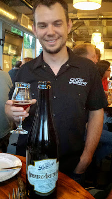 Imperial Bottle Shop and Taproom presents The Bruery and Coquine Beer Pairing Dinner.  Here for course 4, Bruery Geriatric Hipster Club - beer equivalent of an Old-Fashioned; oak, bitters, orange peel