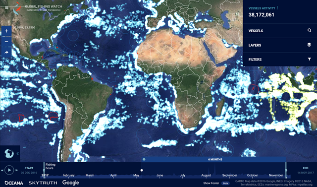 Global fishing vessel activity, May 2017 - November 2017. Graphic: Global Fishing Watch